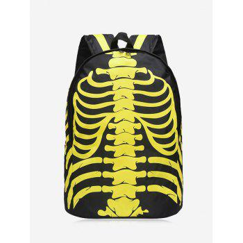 Noctilucence Skull Striped Backpack - YELLOW YELLOW