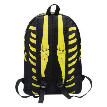 Noctilucence Skull Striped Backpack -  YELLOW