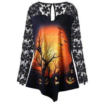 Plus Size Halloween Pumpkin Lace Insert Tunic T-shirt