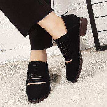 Hollow Out Fringe Low Heel Flat Shoes - Noir 36