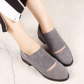 Hollow Out Fringe Low Heel Flat Shoes - Gris 39