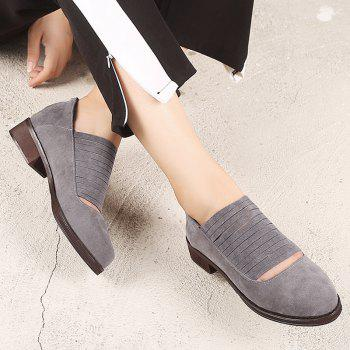 Hollow Out Fringe Low Heel Flat Shoes - Gris 40