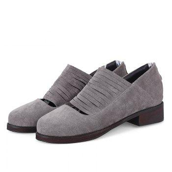 Hollow Out Fringe Low Heel Flat Shoes - Gris 36