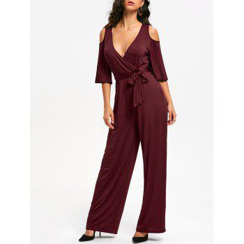 Open Shoulder Low Cut Surplice Jumpsuit - WINE RED S