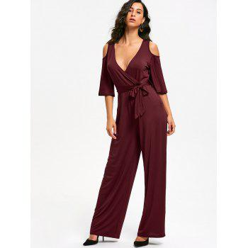 Open Shoulder Low Cut Surplice Jumpsuit - S S