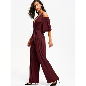 Open Shoulder Low Cut Surplice Jumpsuit - WINE RED WINE RED