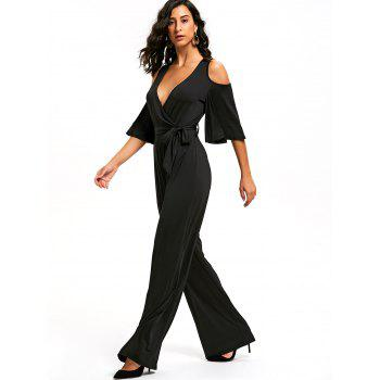 Open Shoulder Low Cut Surplice Jumpsuit - BLACK S