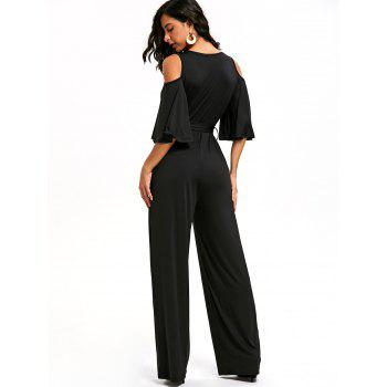Open Shoulder Low Cut Surplice Jumpsuit - BLACK BLACK