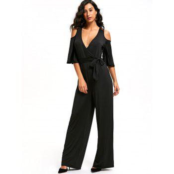 Open Shoulder Low Cut Surplice Jumpsuit - BLACK XL