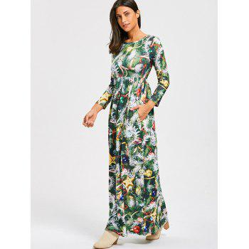 Christmas Tree Print A Line Maxi Dress - GREEN GREEN