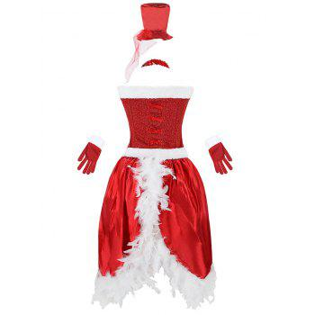 Faux Fur Trim Christmas Costume - RED RED