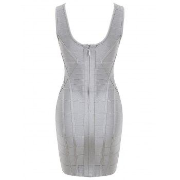 V Neck Sleeveless Bandage Dress - GRAY GRAY