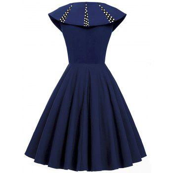 Polka Dot Panel Vintage Fit et Flare Dress - Bleu Violet 2XL