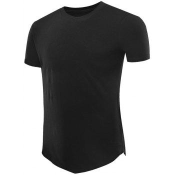 Short Sleeve Tee with V Hem - BLACK BLACK