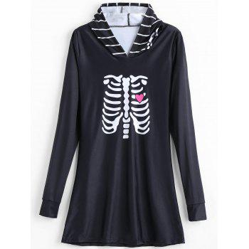 Skeleton Print Halloween Lounge Dress - BLACK L