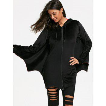 Bat Wing Wave Cut Halloween Zip Up Hoodie - BLACK M