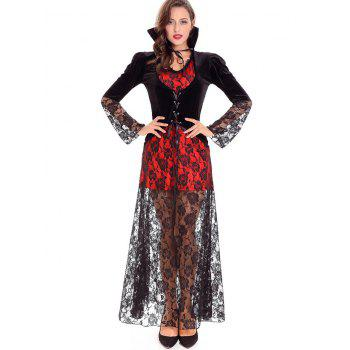 Halloween Devil Queen Velvet Costume - BLACK BLACK