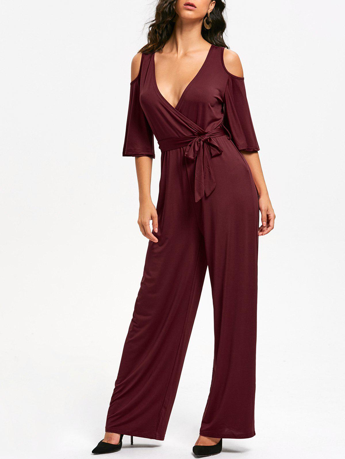 Open Shoulder Low Cut Surplice Jumpsuit - WINE RED L