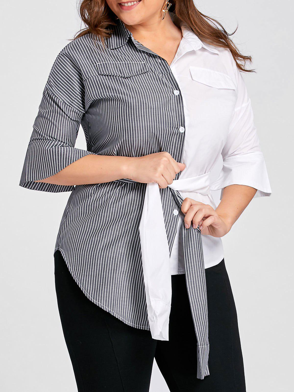 Plus Size Contrast Stripe Shirt with Belt - GREY/WHITE 3XL