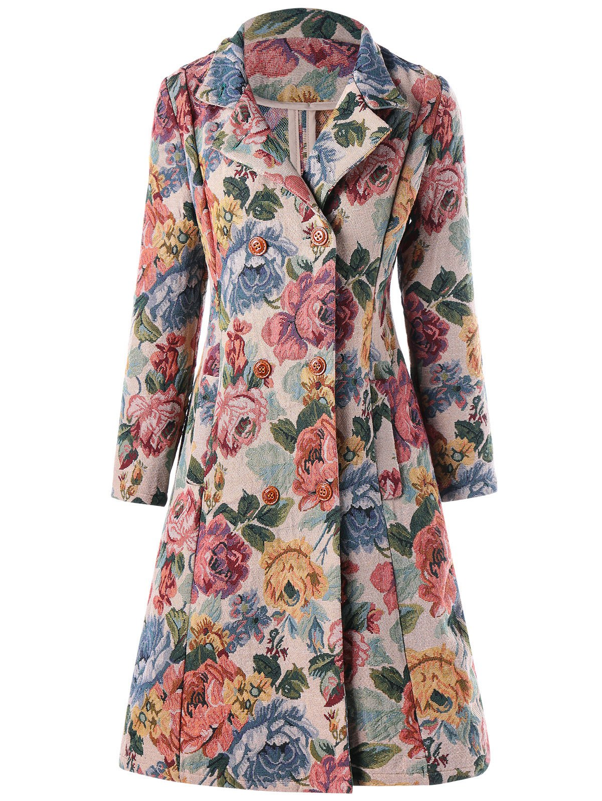Double-breasted Floral A-line Trench Coat - FLORAL XL