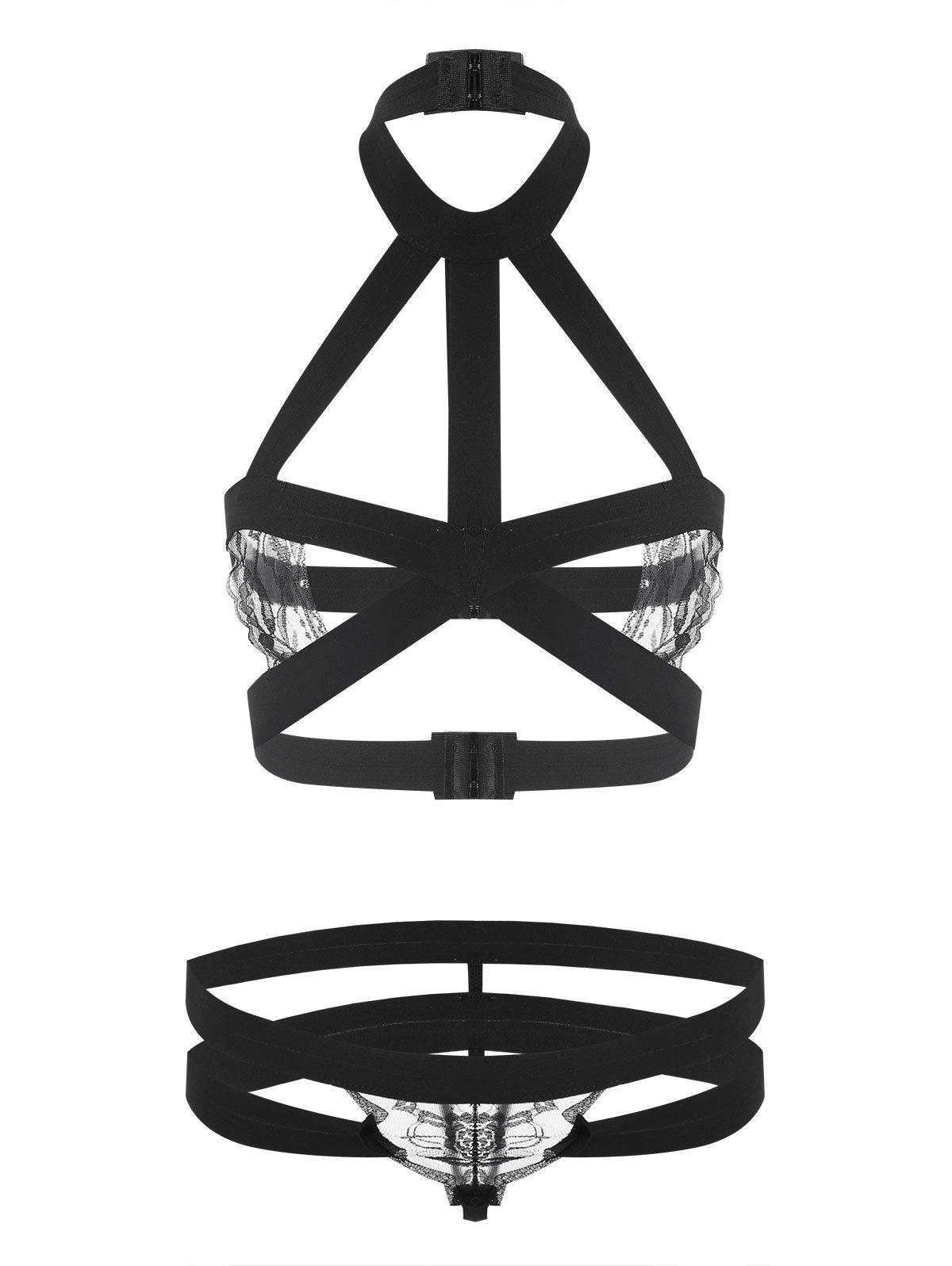 Caged Strappy Bralette Set - BLACK ONE SIZE