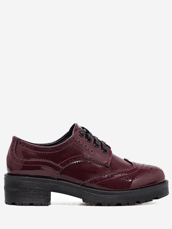Contraste Color Wingtip Brogues Flat Shoes - Rouge vineux 39