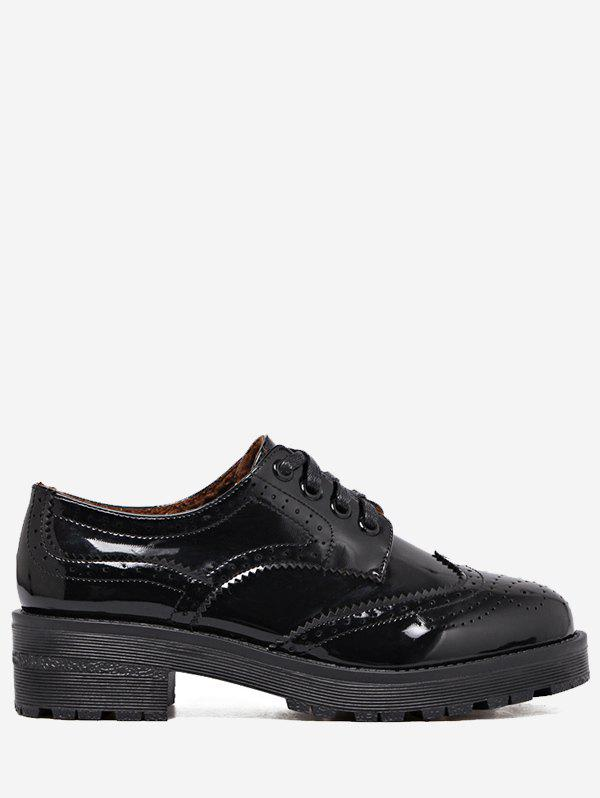 Contraste Color Wingtip Brogues Flat Shoes - Noir 36
