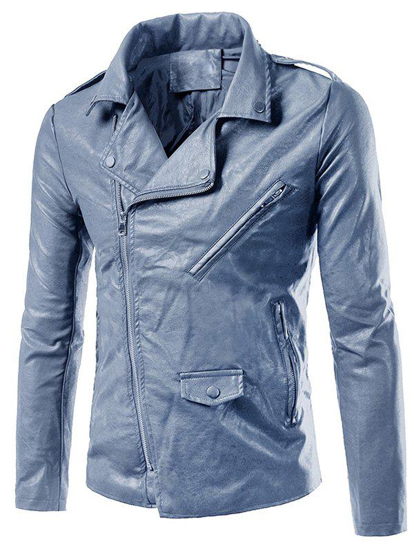 Asymmetrical Zip Up Epaulet Design Biker Jacket