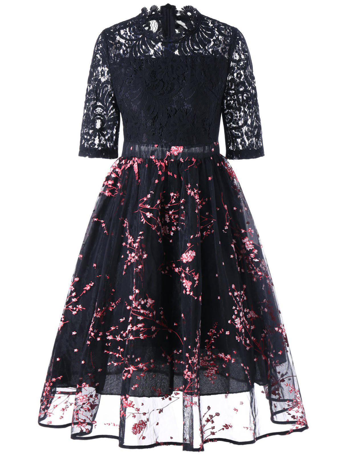 Floral Print Lace Insert Midi Dress - Noir M