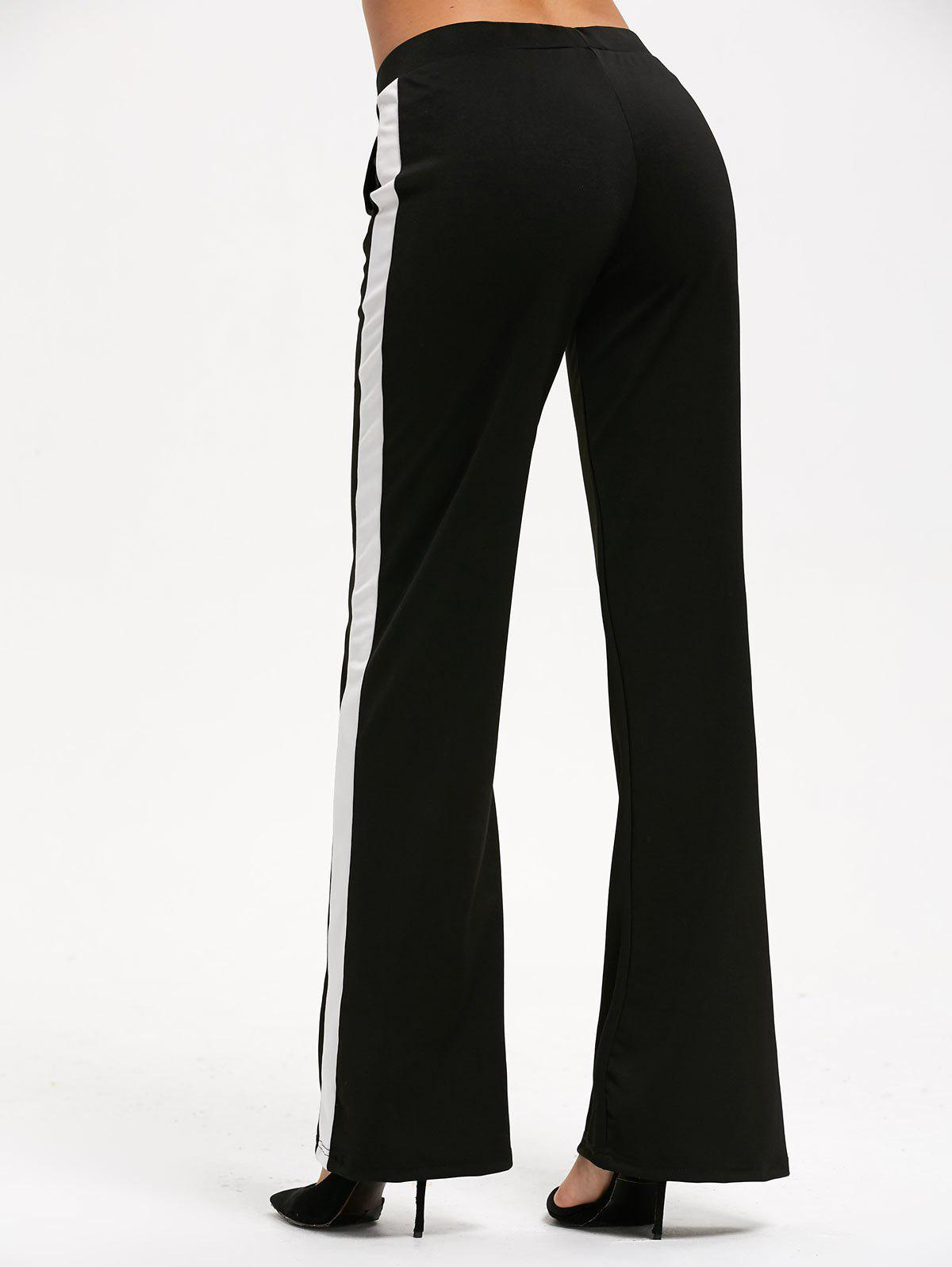 Casual Color Trim Straight Pants with Pocket - Noir XL
