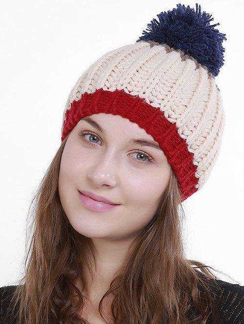 Outdoor Color Block Pom Pom Knit Slouchy Beanie pom pom cable knit beanie hat