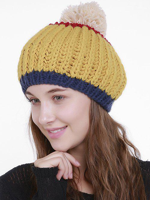 Outdoor Color Block Pom Pom Knit Slouchy Beanie