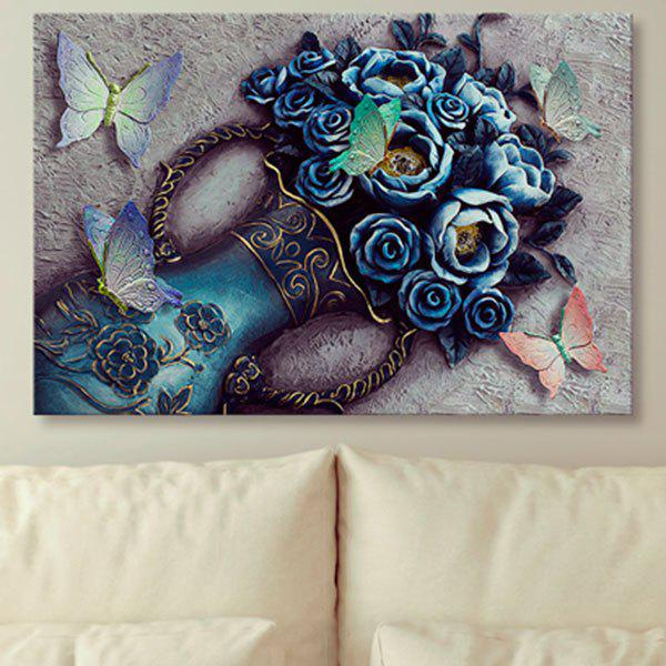 Flower Vase Butterfly Print Wall Art Vintage Canvas Painting - COLORMIX 1PC:31*47 INCH( NO FRAME )
