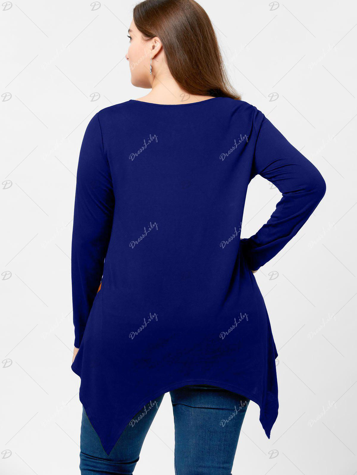 2018 Plus Size Long Sleeve Handkerchief T Shirt Blue Xl In