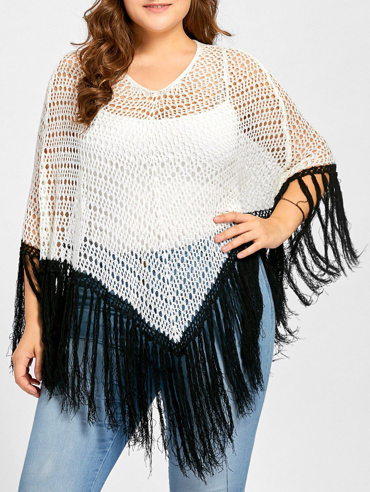 Plus Size Open Knit Tassel Poncho Sweater open knit long sweater