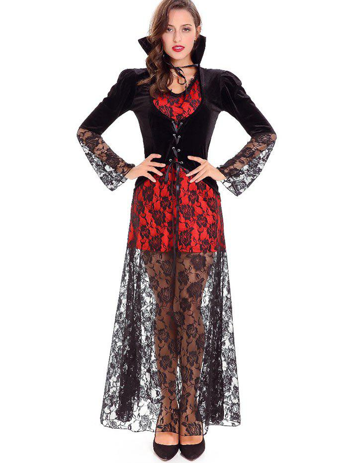 Halloween Devil Queen Velvet Costume - Noir ONE SIZE