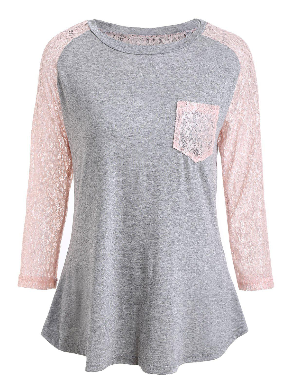Lace Insert Raglan Sleeve T-shirt with Pocket lace insert raglan sleeve t shirt with pocket