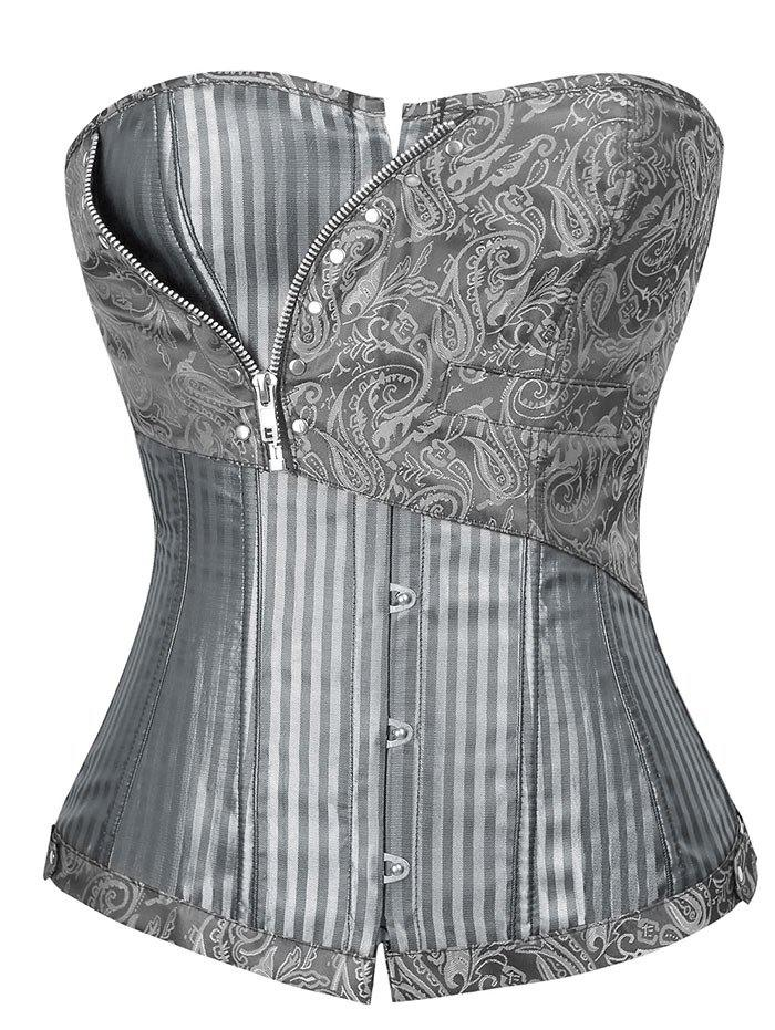 Brocade Striped Lace Up Corset Top striped grommet lace up dropped shoulder top