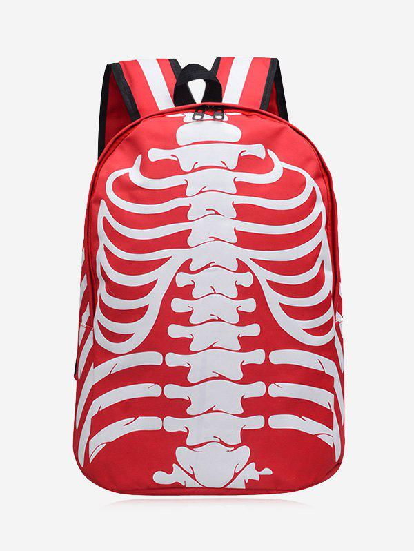Noctilucence Skull Striped Backpack - RED