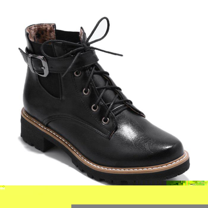 Elastic Band Buckle Strap Ankle Boots - BLACK 36