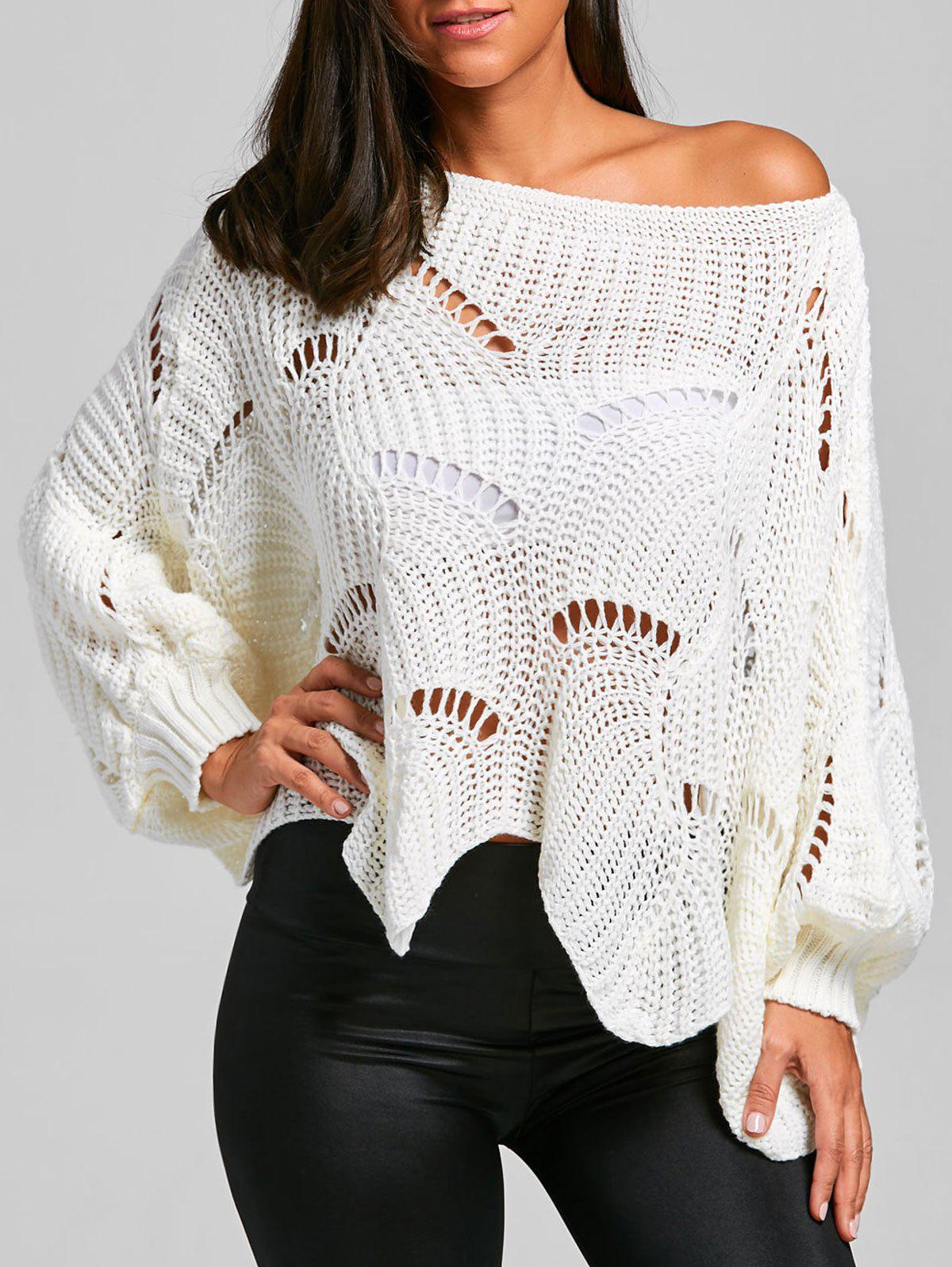 2018 Batwing Sleeve Oversized Chunky Sweater WHITE ONE SIZE In ...