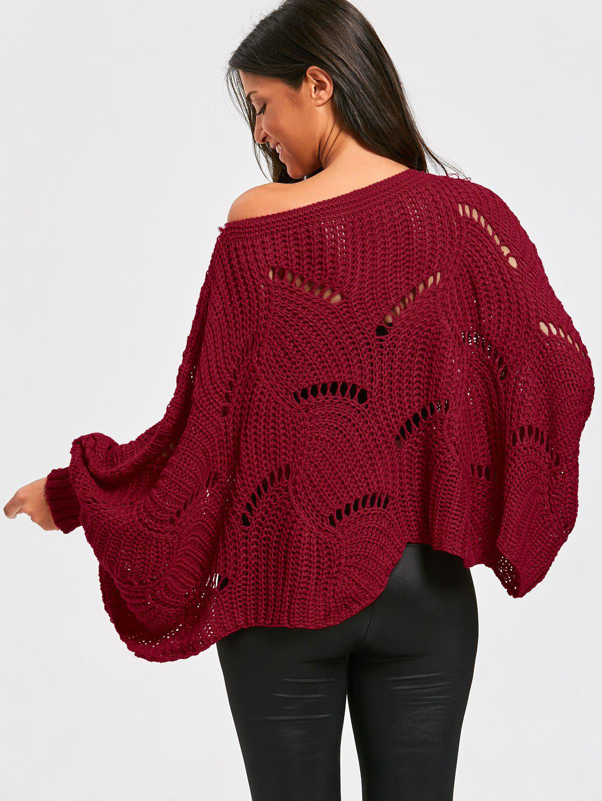 Batwing Sleeve Oversized Chunky Sweater - WINE RED ONE SIZE