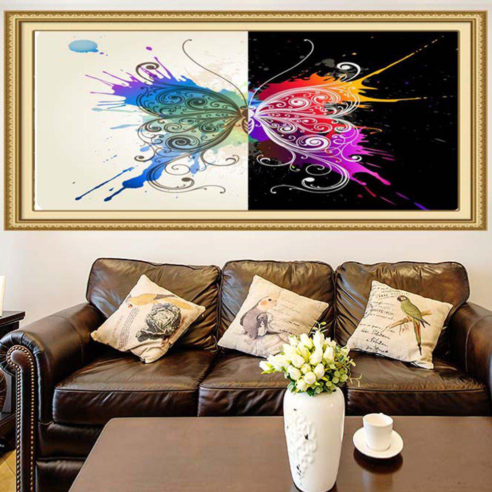 Butterfly Splatter Print Waterproof Stick-on Wall Art Painting - COLORFUL 1PC:39*39 INCH( NO FRAME )