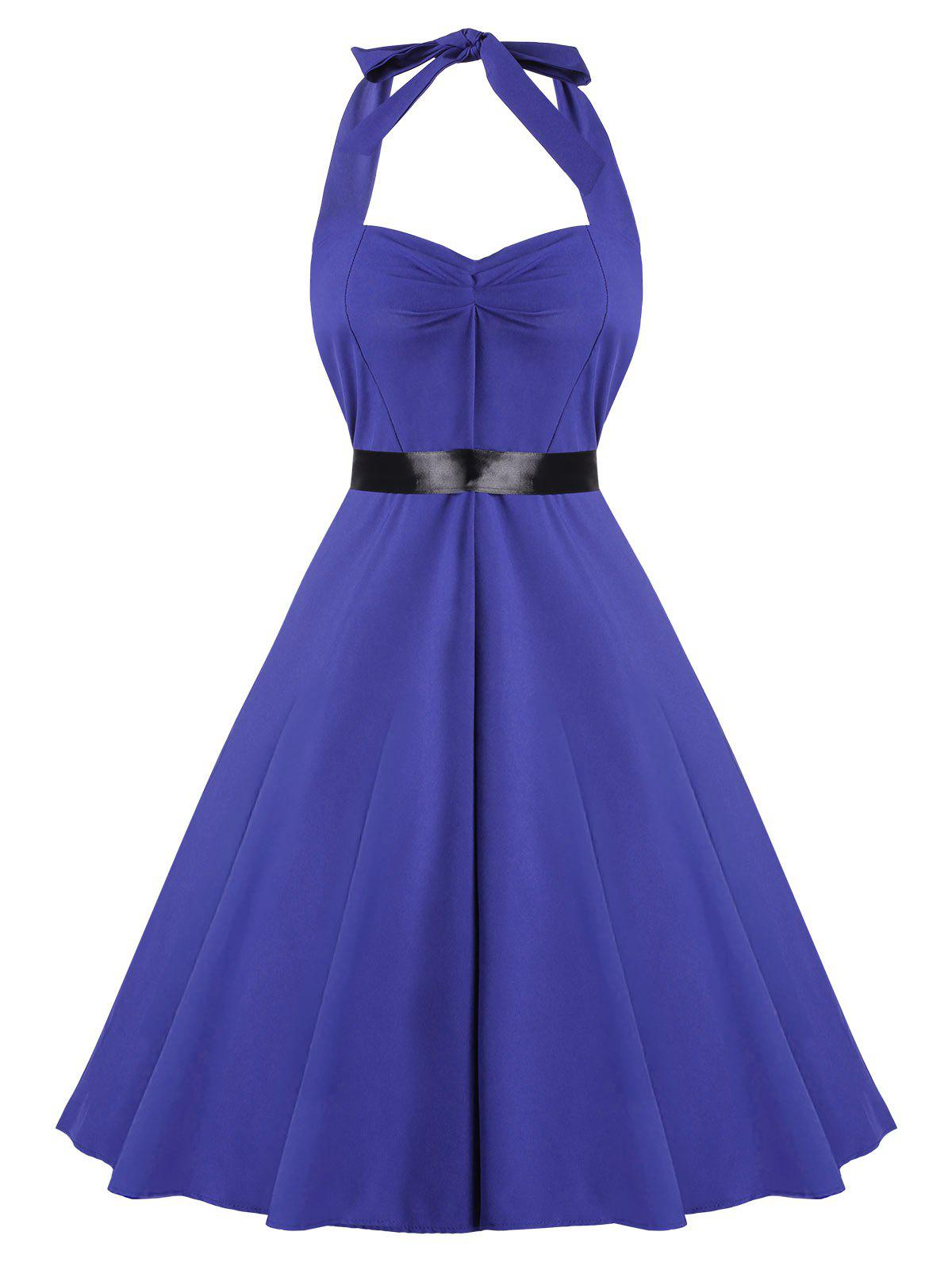 Fit and Flare Halter Vintage Dress - BLUE XL