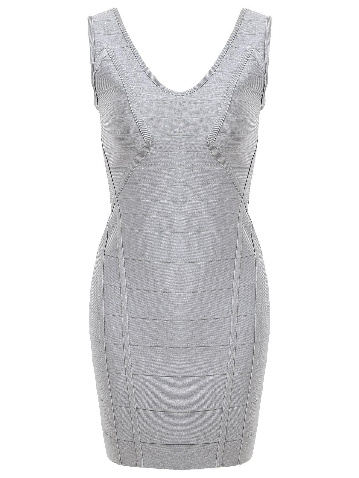 V Neck Sleeveless Bandage Dress - GRAY L