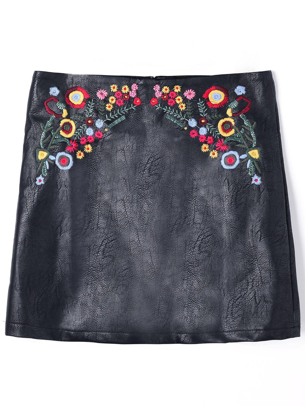 Floral Embroidered PU Leather Skirt - BLACK M