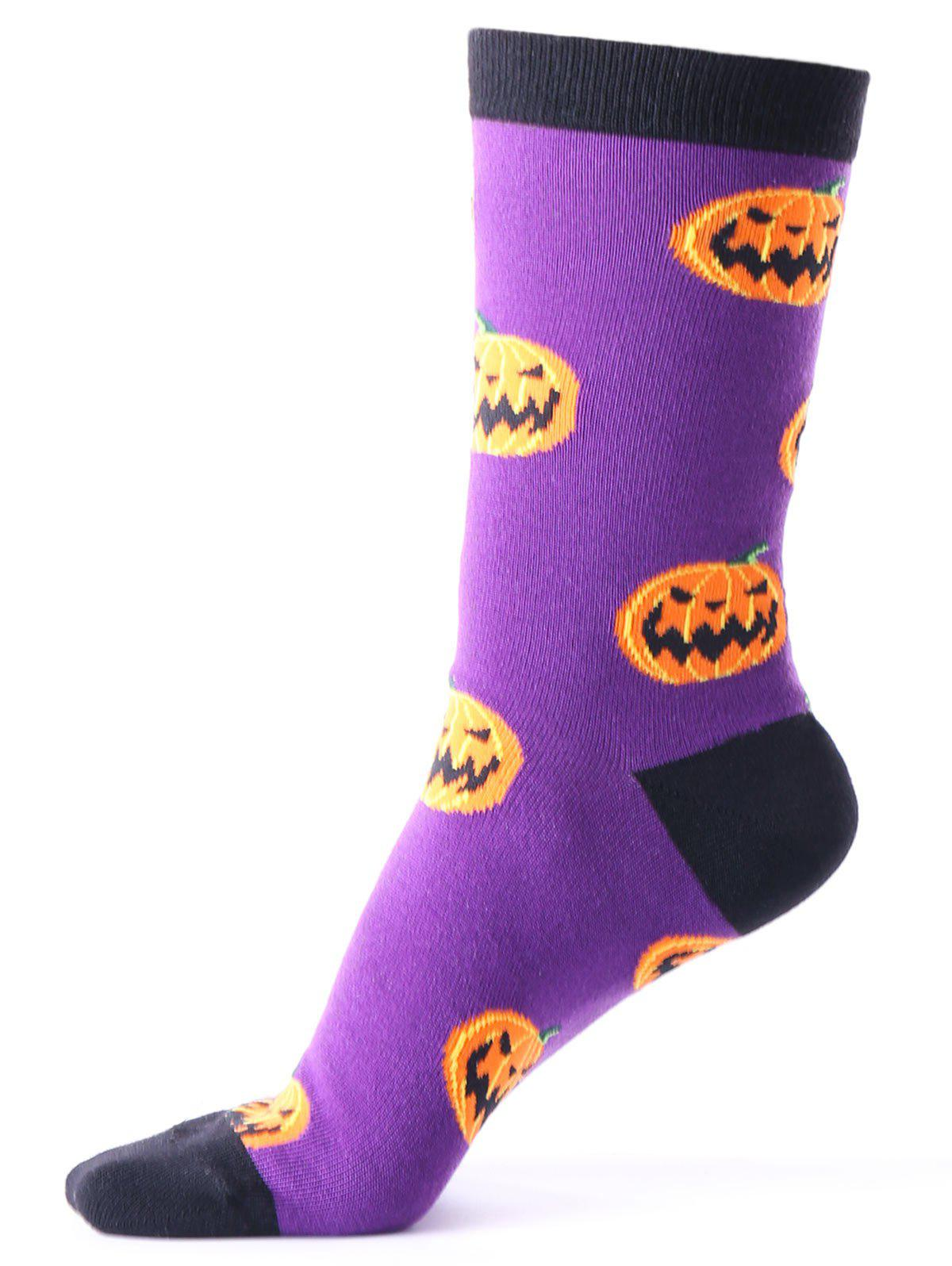 Halloween Pumpkins Tube Socks - PURPLE