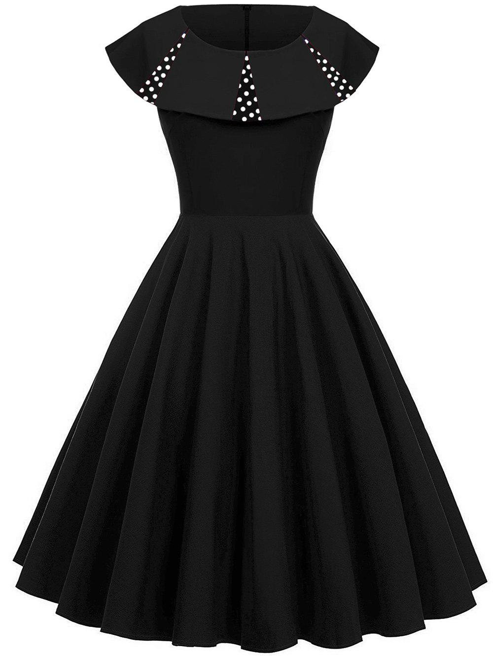 Polka Dot Panel Vintage Fit and Flare Dress - BLACK S