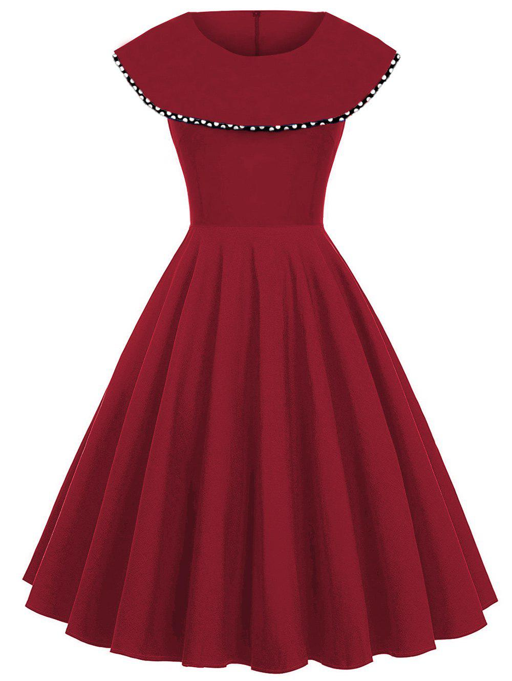 Polka Dot Print Vintage A Line Dress - RED M