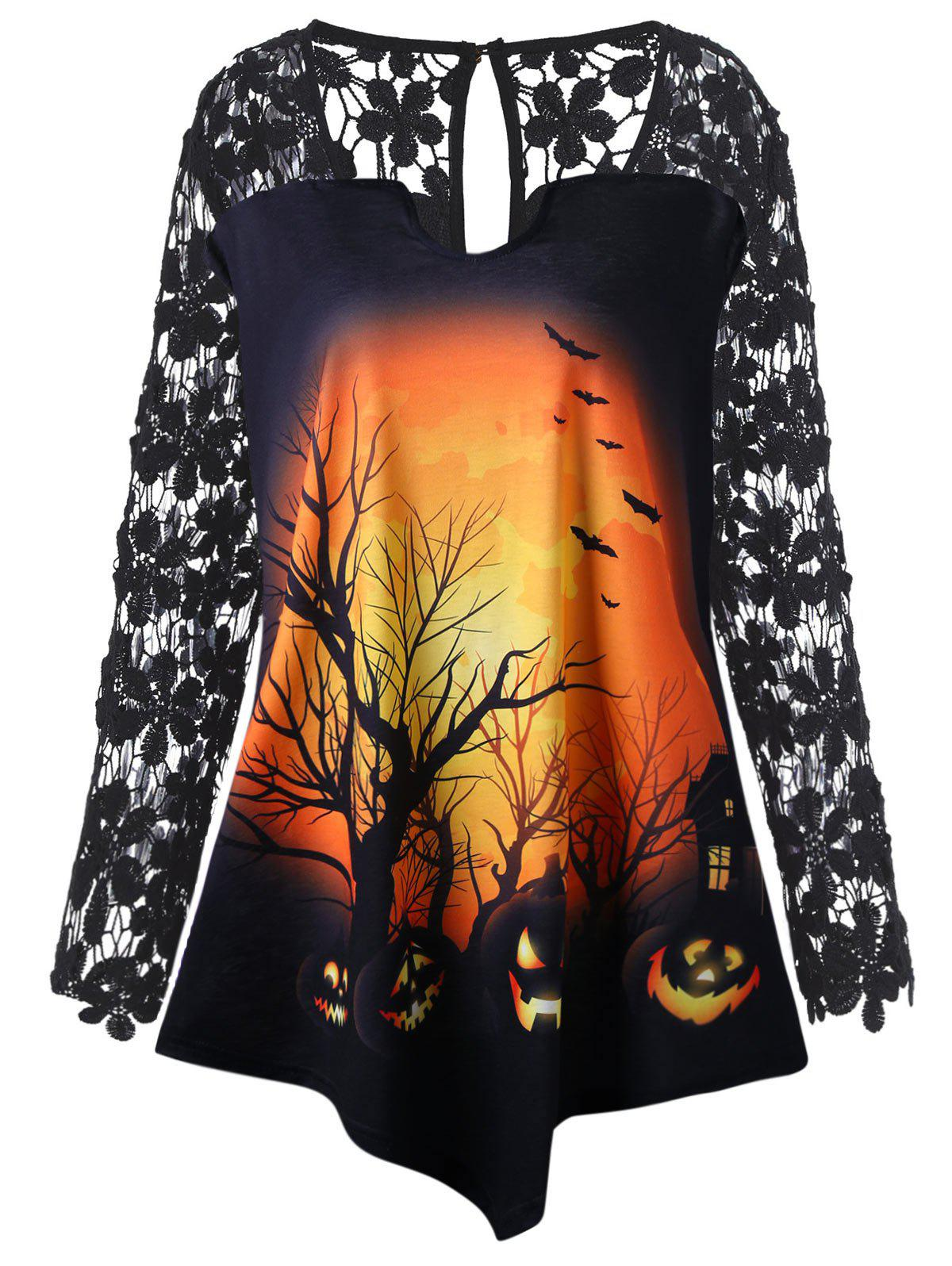 Plus Size Halloween Pumpkin Lace Insert Tunic T-shirt - BLACK 5XL